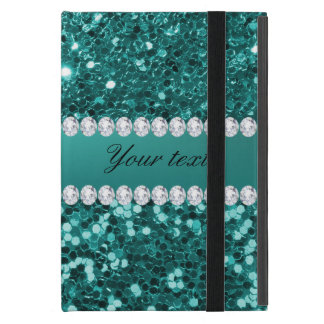 Elegante Blauwgroen Faux schittert en Diamanten iPad Mini Hoesje