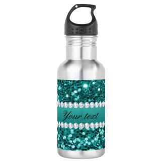 Elegante Blauwgroen Faux schittert en Diamanten Waterfles