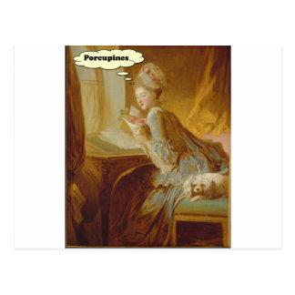 Elegante Dame Thinks over Stekelvarkens Briefkaart