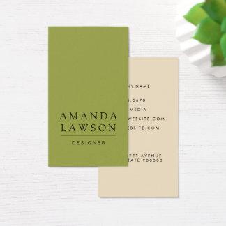 Elegante Eenvoudige Groen en Beige Olijf Visitekaartjes