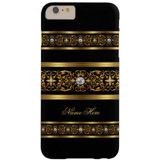 Elegante Elegante Gouden Zwarte Diamant Barely There iPhone 6 Plus Hoesje