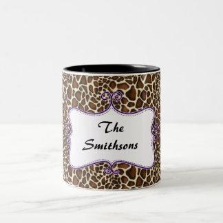 Elegante elegante trendy luipaarddruk, tweekleurige koffiemok
