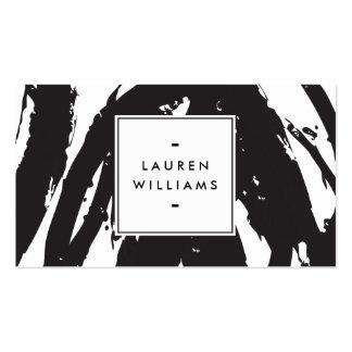 Elegante en Abstracte Zwart-witte Penseelstreken Visitekaartjes