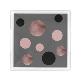 elegante faux nam gouden folie roze zwarte cirkels acryl dienblad