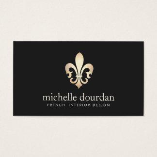 Elegante Franse Binnenlandse Ontwerper Gold Fleur Visitekaartjes