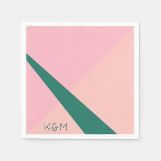 Elegante geometrische groene pastelkleur roze wegwerp servet