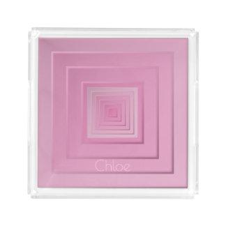 Elegante Geometrische Vierkanten Acryl Dienblad