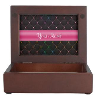 Elegante Gewatteerde Roze Zwarte Gepersonaliseerd Bewaardoosje