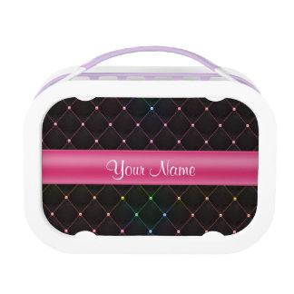 Elegante Gewatteerde Roze Zwarte Gepersonaliseerd Lunchbox