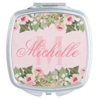 Elegante & girly bloemennaam/monogramspiegel make-up spiegeltjes