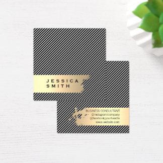 Elegante Goud Geborstelde Strepen/Zwarte Vierkante Visitekaartjes