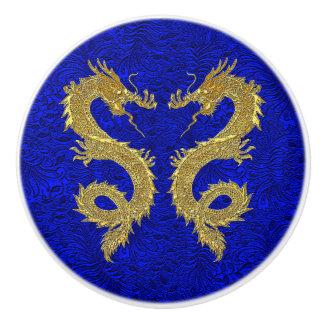 Elegante Gouden Draken op het Blauwe Patroon van Keramische Knop