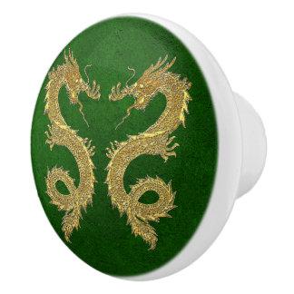 Elegante Gouden Draken op het Groene Patroon van Keramische Knop