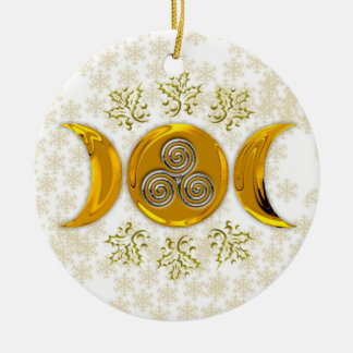 Elegante Gouden Drievoudige maan-Drievoudige Rond Keramisch Ornament