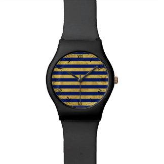 Elegante Gouden Folie en het Blauwe Patroon van de Horloge
