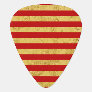 Elegante Gouden Folie en het Rode Patroon van de Gitaar Plectrum 0