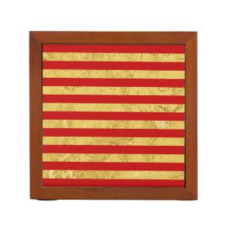 Elegante Gouden Folie en het Rode Patroon van de Pennenhouder