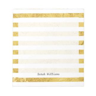 Elegante Gouden Folie en het Witte Patroon van de Notitieblok