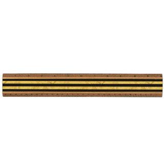 Elegante Gouden Folie en het Zwarte Patroon van de Esdoorn Liniaal