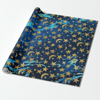 Elegante Gouden Sterren en Marmer van de Marine Inpakpapier