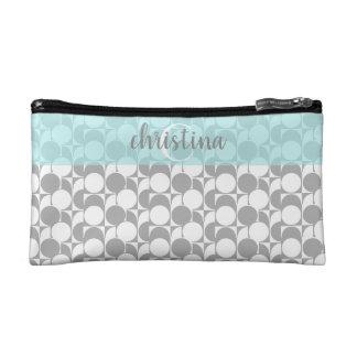 Elegante grijs-witte geometrische waqua, met make-up bag