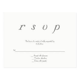 Elegante grijze moderne huwelijks rsvp briefkaart