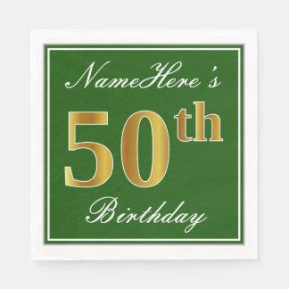 Elegante Groen, Gouden 50ste Verjaardag Faux + Wegwerp Servet
