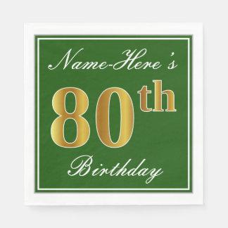 Elegante Groen, Gouden 80ste Verjaardag Faux + Papieren Servetten