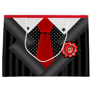 Elegante Heer in Zwarte Wit en Rood Groot Cadeauzakje