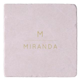 Elegante het monogram bloost Roze Gouden Trivet