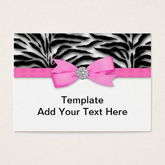 Elegante Hete Roze Gestreepte Visitekaartjes