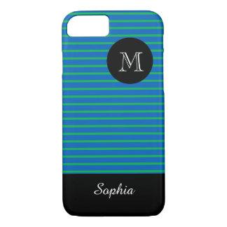 ELEGANTE iPhone 7 CASE_BLUE/GREEN STRIPES_BLACK iPhone 7 Hoesje