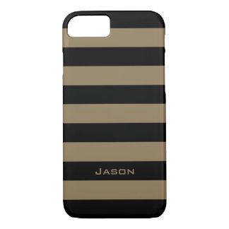ELEGANTE iPhone 7 CASE_CAMEL/BLACK STREEP #7 iPhone 7 Hoesje