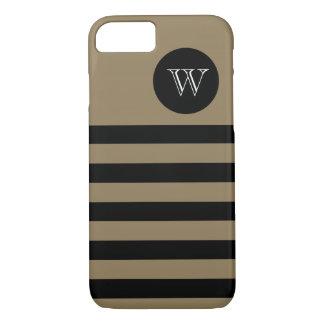 ELEGANTE iPhone 7 CASE_CAMEL/BLACK STREPEN #400. iPhone 7 Hoesje