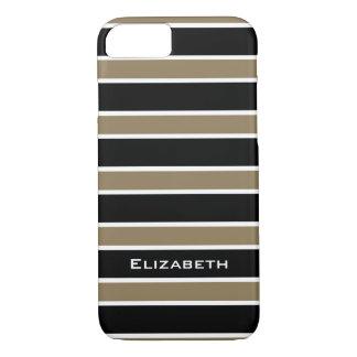 ELEGANTE iPhone 7 CASE_CAMEL/BLACK/WHITE STREPEN iPhone 7 Hoesje