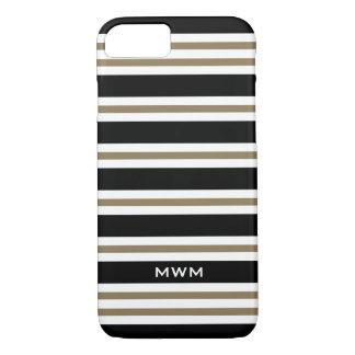ELEGANTE iPhone 7 CASE_CAMEL/BLACK/WHITE STREPEN iPhone 8/7 Hoesje