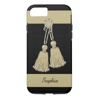 ELEGANTE iPhone 7 CASE_KHAKI TASSELS/STRIPES iPhone 7 Hoesje