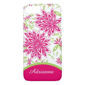 ELEGANTE iPhone 7 CASE_LOVELY HETE ROZE BLOEMEN iPhone 7 Hoesje