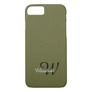 ELEGANTE iPhone 7 CASE_MOSS GREEN/BLACK--WIT TEKST iPhone 7 Hoesje