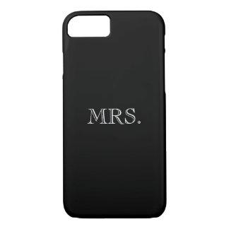 ELEGANTE iPhone 7 CASE_MRS. WIT OP ZWARTE iPhone 7 Hoesje