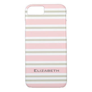 ELEGANTE iPhone 7 CASE_PINK/PINK/WHITE STREPEN #3 iPhone 7 Hoesje