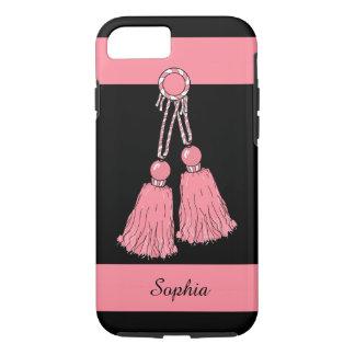 ELEGANTE iPhone 7 CASE_PINK TASSELS/STRIPES iPhone 7 Hoesje