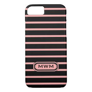 ELEGANTE iPhone 7 STREPEN CASE_04 BLUSH/BLACK iPhone 7 Hoesje