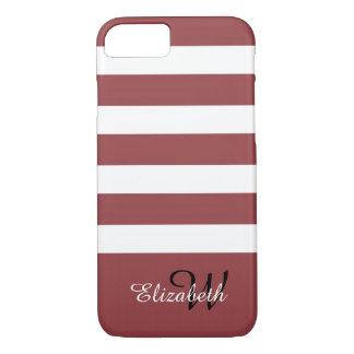 ELEGANTE iPhone 7 STREPEN CASE_147 MARSALA/WHITE iPhone 7 Hoesje