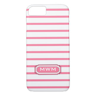 ELEGANTE iPhone 7 STREPEN CASE_241 PINK/WHITE iPhone 7 Hoesje