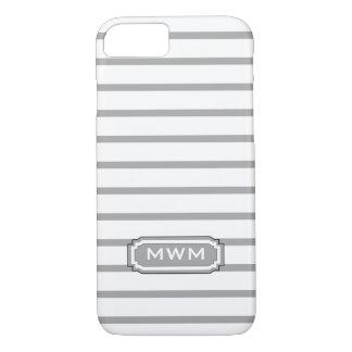 ELEGANTE iPhone 7 STREPEN CASE_252 SILVER/WHITE iPhone 7 Hoesje