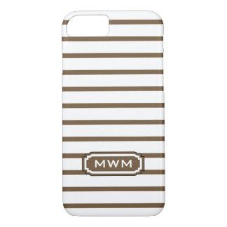ELEGANTE iPhone 7 STREPEN CASE_39 BROWN/WHITE iPhone 7 Hoesje