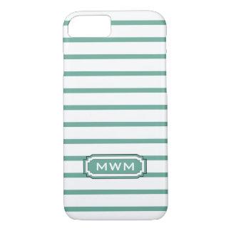 ELEGANTE iPhone 7 STREPEN CASE_404 AQUA/WHITE iPhone 7 Hoesje