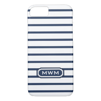 ELEGANTE iPhone 7 STREPEN CASE_436 NAVY/WHITE iPhone 8/7 Hoesje