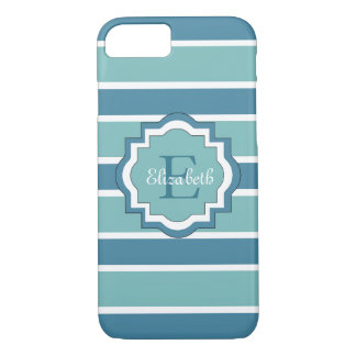 ELEGANTE iPhone 7 STREPEN CASE_BLUE/AQUA/WHITE iPhone 7 Hoesje